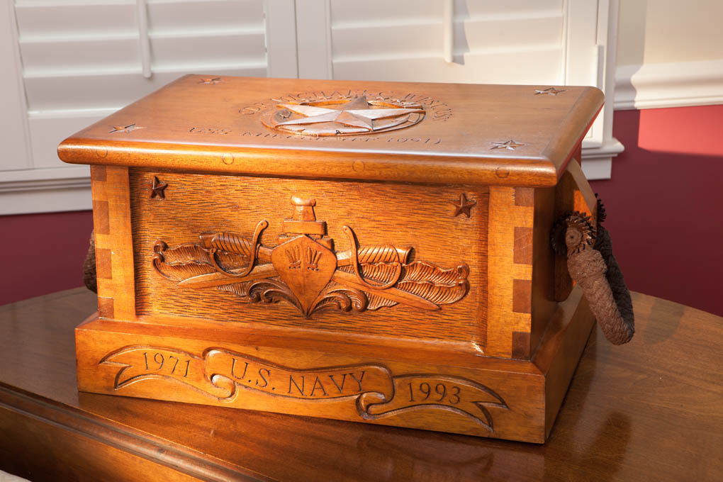 Command presents hand carved personalized sea chests military